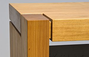 Asymmetrical corner joinery on custom bench - Infusion Furniture