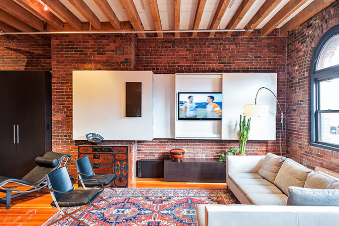 custom cabinetry for leather district loft by Infusion Furniture