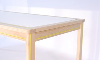 Striped decorative channel on the Striped Dining Table by Infusion Furniture