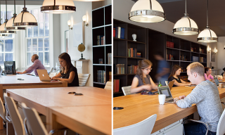 Custom Office Work Tables in use - Infusion Furniture