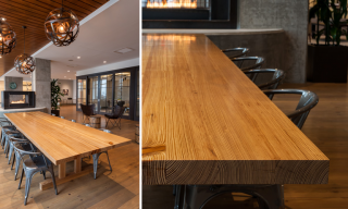 Communal Table in the lobby and grain detail of Southern Yellow Pine table top