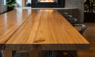 Closeup of Communal Dining Table top - reclaimed Souther Yellow Pine - Infusion Furniture