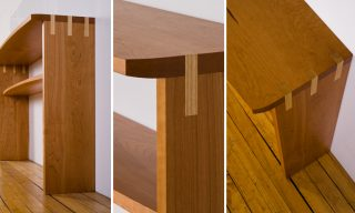 Closeups of the modern console table from Infusion Furniture - Bowfront Console Table