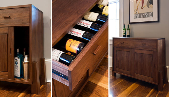 Wine storage drawer and liquor cabinet details of buttressed wine cabinet by Infusion Furniture