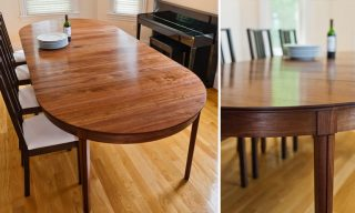 Views of expanded Round Dining Table by Infusion Furniture