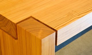 Closeup - asymmetrical corner joinery on custom bench - Infusion Furniture
