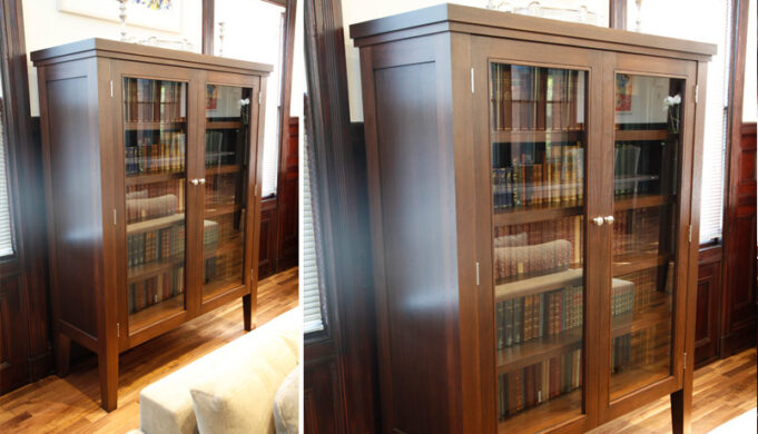 Two views of Infusion Furniture's Library Cabinet