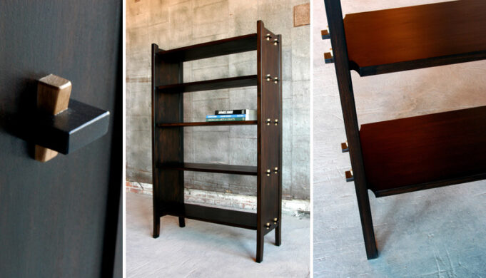 Three views of pinned bookcase by Infusion Furniture
