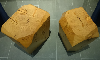 Top view of Watermark Side Tables showing the faceted shaping of the reclaimed pine beam source material - Infusion Furniture