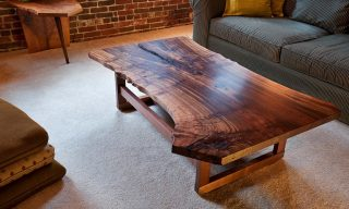 Walnut slab coffee table with live edge - another modern furniture design from Infusion Furniture