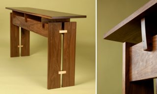 Detail views of the floating top console table - Trilogy Table by Infusion Furniture