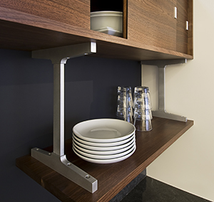 Custom aluminum support brackets for loft kitchen cabinets