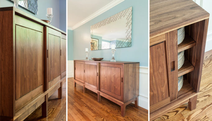 3 views of custom sideboard in walnut by Infusion Furniture
