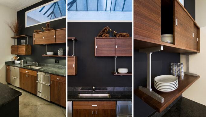 Custom made loft kitchen cabinets triptych