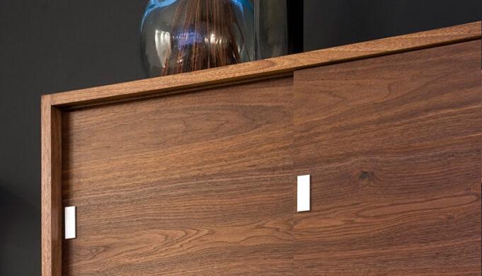 Custom aluminum cabinet hardware closeup - loft kitchen cabinets