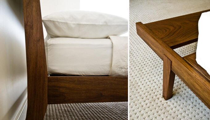 Headboard (side view) and leg closeups - Tapered Bed by Infusion Furniture - black walnut