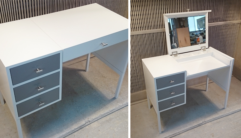 modern vanity table was designed for a corner nook - Infusion Furniture